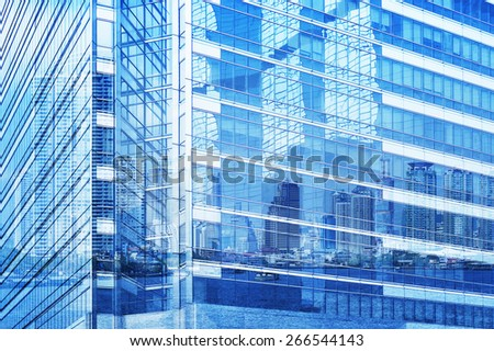Reflection of city tower on modern window building, illustration style