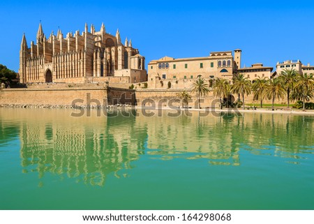 Reflection of famous La Seu Cathedral  in Palma de Majorca, Spain - stock photo