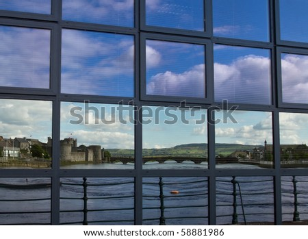 Reflection of King John castle in the windows - stock photo