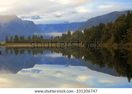 Reflection of Lake Matheson in the morning, New Zealand