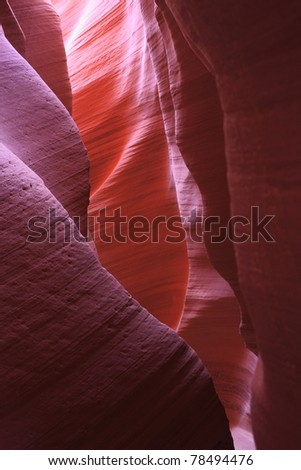 Reflection of light off the walls in Antelope Canyon