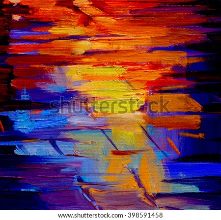 reflection of light on a roadway during a rain, abstract painting by oil on a canvas, illustration - stock photo