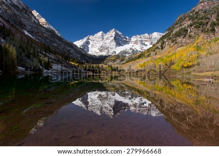 Reflection of Maroon Bell in the Fall - stock photo