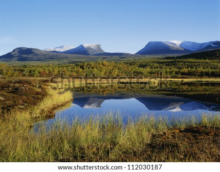 Reflection of mountain landscape in lake