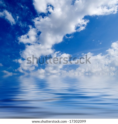 reflection of sky in the quiet sea