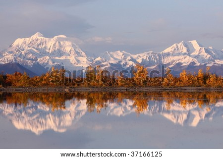 Reflection of snow mountain in Denali