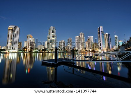 Reflection of Surfers Paradise apartments at sunset, Gold Coast Australia - stock photo