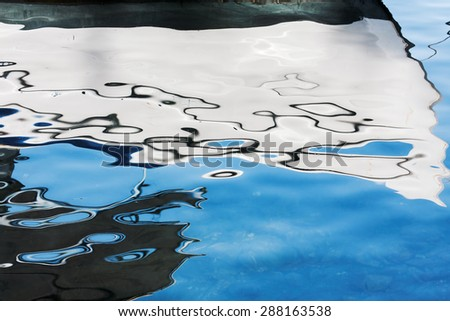 Reflection of the boat - stock photo