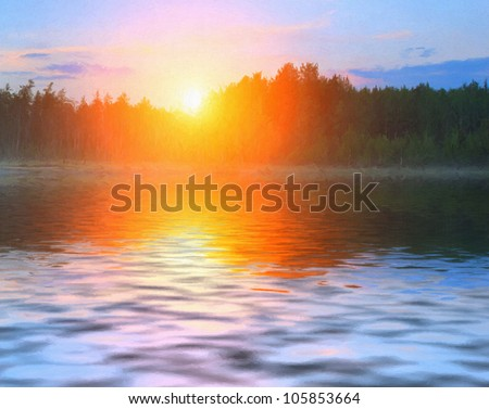 Reflection of the first rays of the sun in a misty forest lake.Digital structure of painting. - stock photo