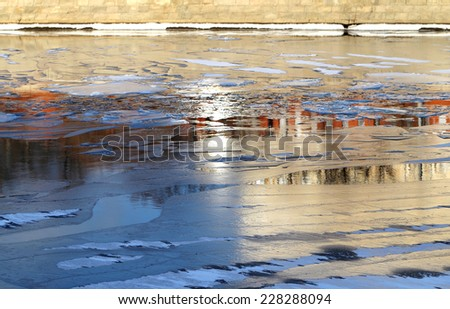 Reflection of the Moscow Kremlin in the Moscow River - stock photo