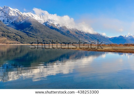 Reflection of the mountains in Lord of the Rings film location, Glenorchy, New Zealand