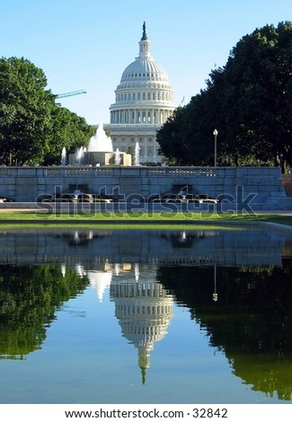 Reflection of United States Capitol - stock photo