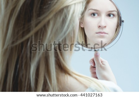 Reflection Woman Mental Problem Holding Mirror Stock Photo Royalty