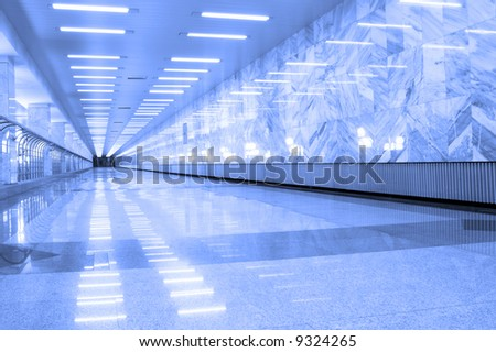 reflection  on marble floor  in moscow metro - stock photo