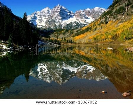 Reflection on Maroon Lake - stock photo
