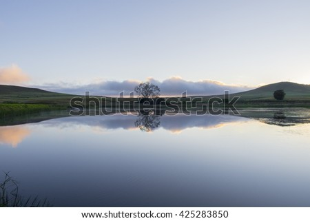 Reflection over calm dam