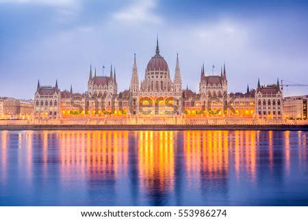reflections at budapest parliament, hungary
