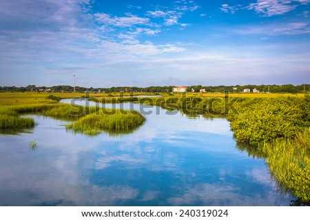 Reflections in a marsh in St. Augustine, Florida. - stock photo