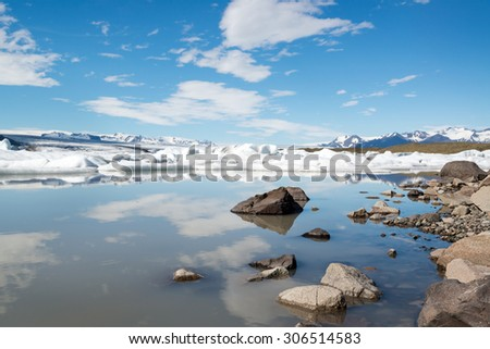 Reflections in Fjallsarlon lagoon, Iceland in June