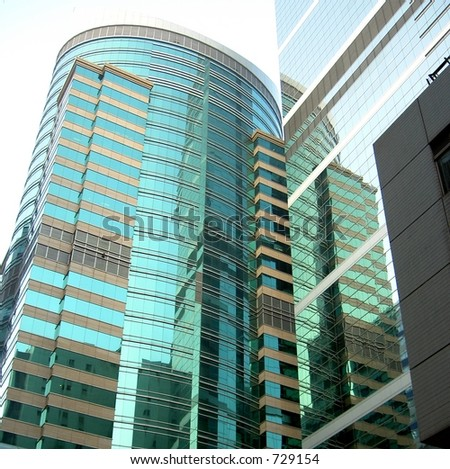 Reflections in highrise offices on Hong Hong island - stock photo