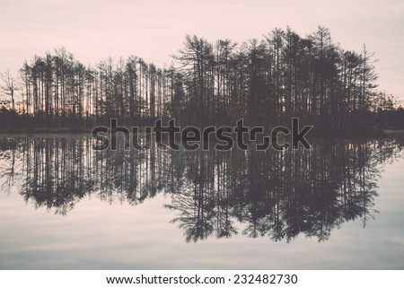 reflections in the lake water at sunrise. Vintage photography effect. - stock photo