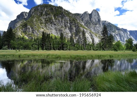 Reflections in water of yosemite national park, USA - stock photo