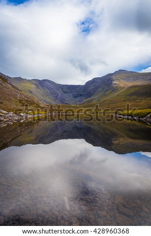 Reflections of clouds and the Macgillycuddy's Reeks and Carrauntoohil in Lough Eagher