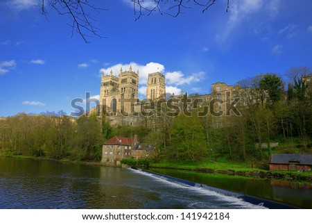 Reflections of Durham Cathedral in the River Wear - stock photo