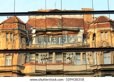 Reflections of the buildings - stock photo