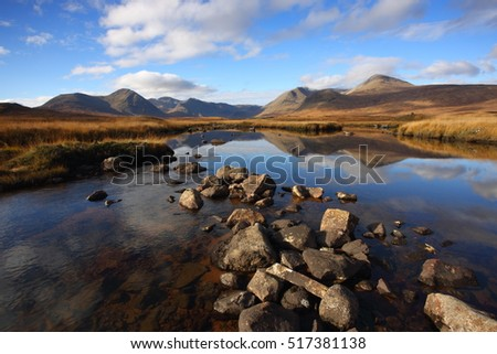 Reflections on Lochan na Stainge on Rannoch Moor in Autumn.