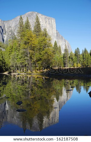 Reflections on the Mirror Lake, Yosemite National Park, California - stock photo