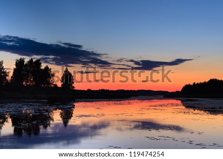 Reflections over  water surface at late evening - stock photo