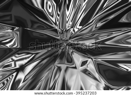 Reflective background surface with shattered shapes.