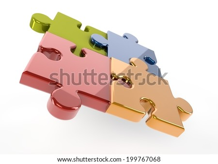 Reflective colored puzzle pieces