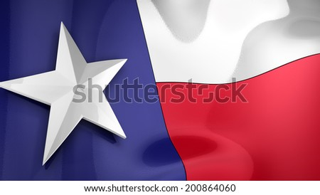 Reflective 3D rendering of the state flag of Texas - stock photo
