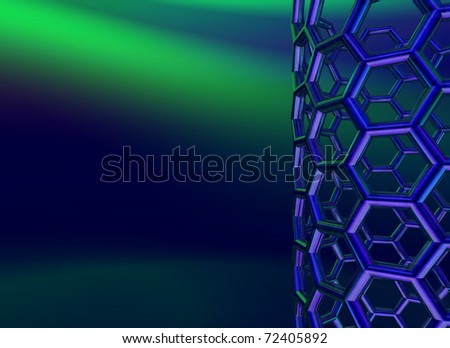 reflective nanotube structure on blue background