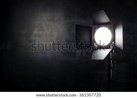 Reflector on the background wall of chalk - stock photo