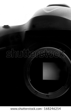 Reflex Camera isolated on white. Professional DSLR silhouette. - stock photo
