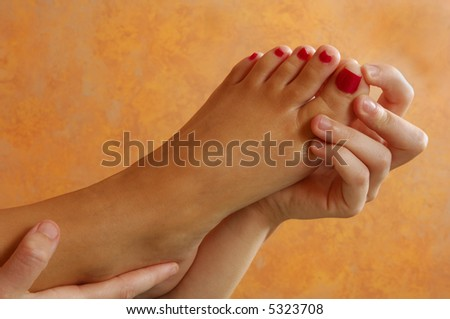 Reflexology Toe Massage - stock photo