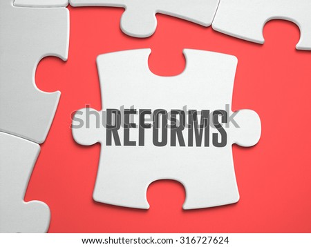 Reforms - Text on Puzzle on the Place of Missing Pieces. Scarlett Background. Close-up. 3d Illustration. - stock photo