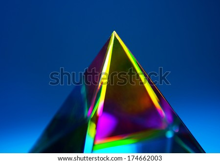 Refractions of light in a glass prism. Focus is on tip