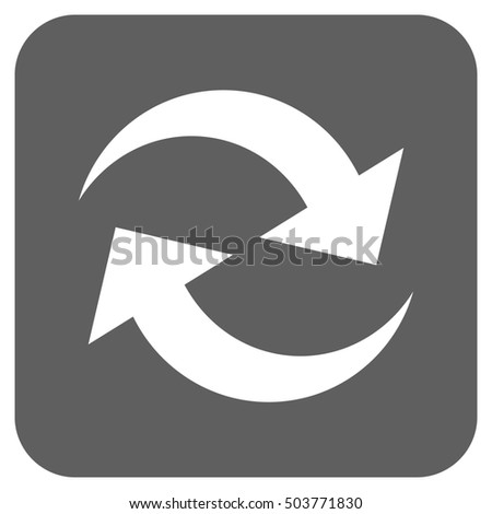 Refresh Arrows glyph icon. Image style is a flat icon symbol on a rounded square button, white and silver gray colors.