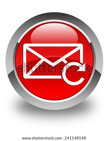 Refresh email icon glossy red round button - stock photo