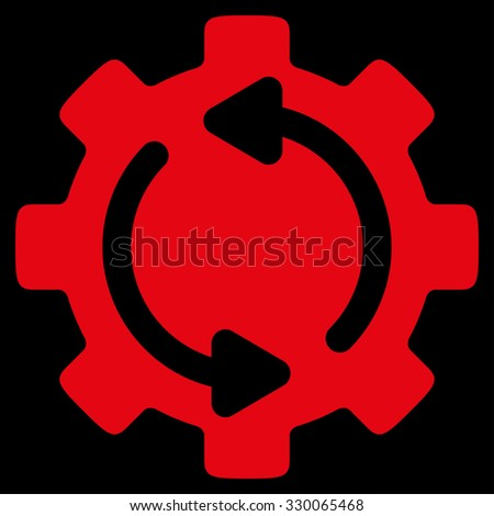 Refresh Engine raster icon. Style is flat symbol, red color, rounded angles, black background. - stock photo