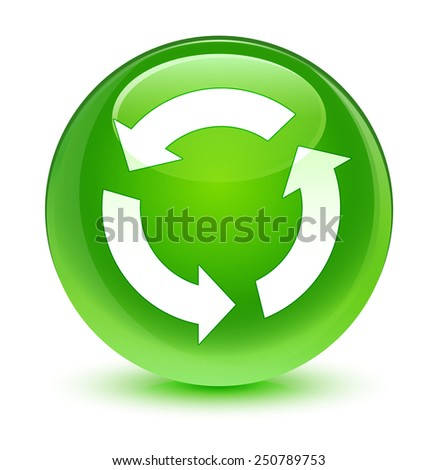 Refresh icon glassy green button