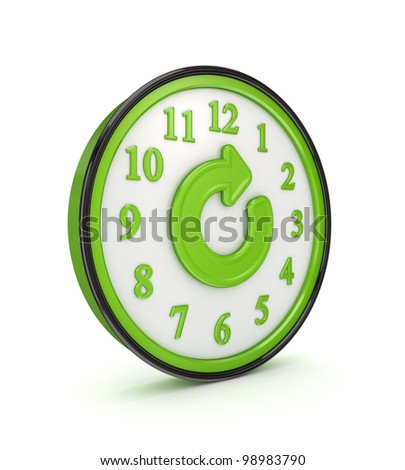 Refresh icon on a green watch.Isolated on white background.3d rendered. - stock photo