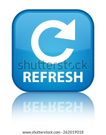 Refresh (rotate arrow icon) cyan blue square button - stock photo