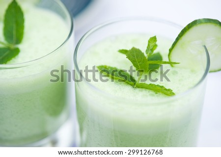 Refreshing and healthy cucumber smoothie - stock photo