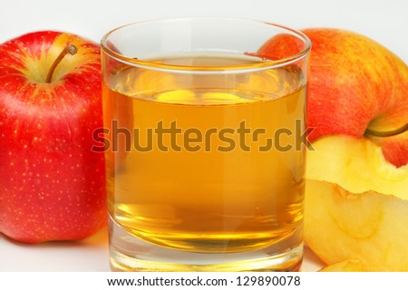 Refreshing apple juice in a glass