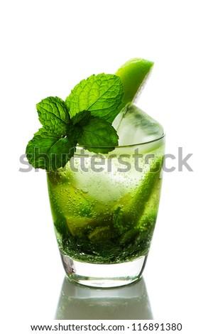 refreshing apple lemon drink, isolated on white background - stock photo